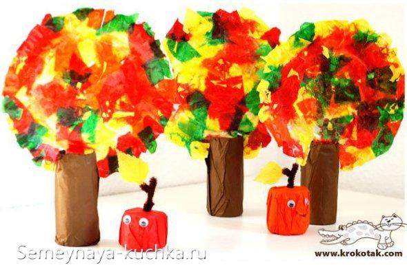 осенняя детская поделка дерево