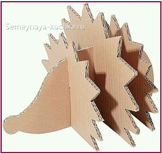 поделка объемная ежик из картона