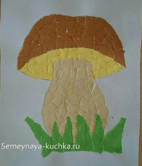 поделка детская гриб обрывная техника