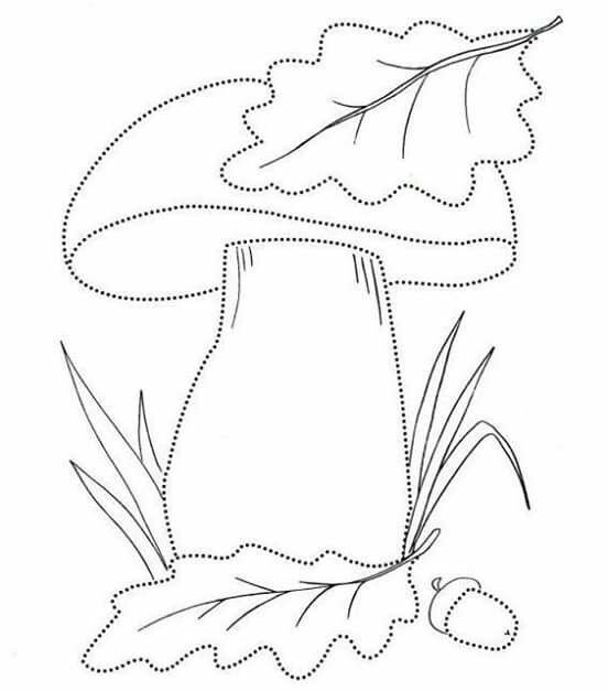 шаблон гриб для поделок на занятиях