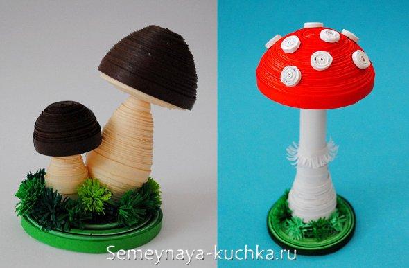 грибы из бумаги техника квиллинг