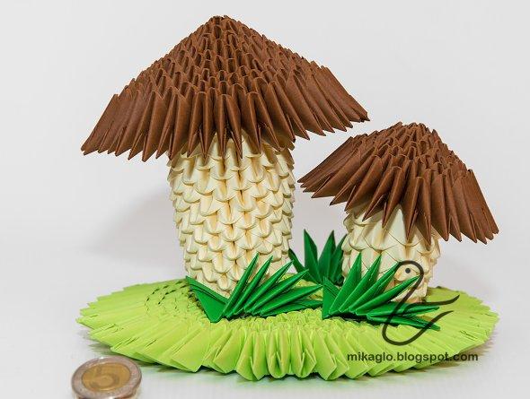 грибы бумажные модульное оригами