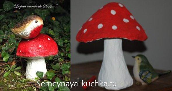 поделка грибы из папье маше