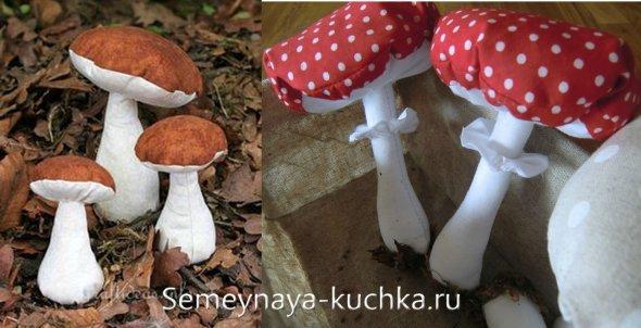 поделка грибы из ткани