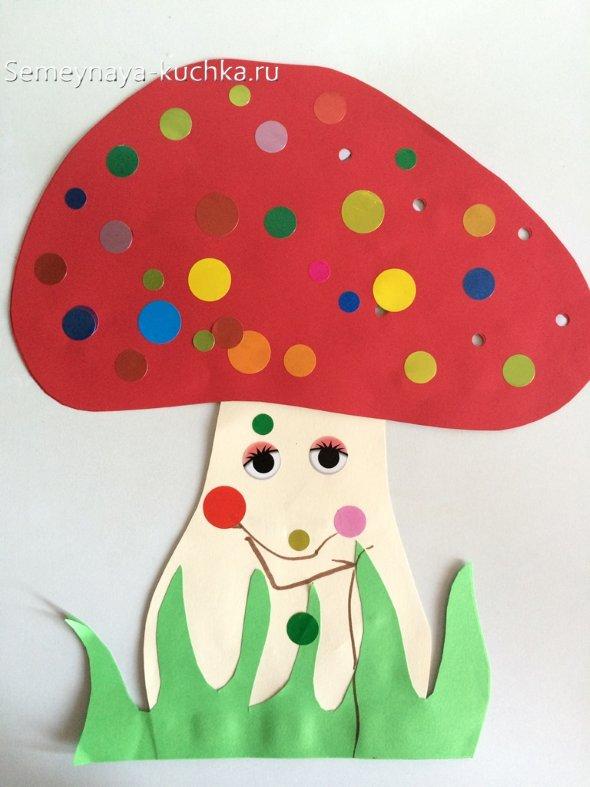 аппликация гриб из цветной бумаги