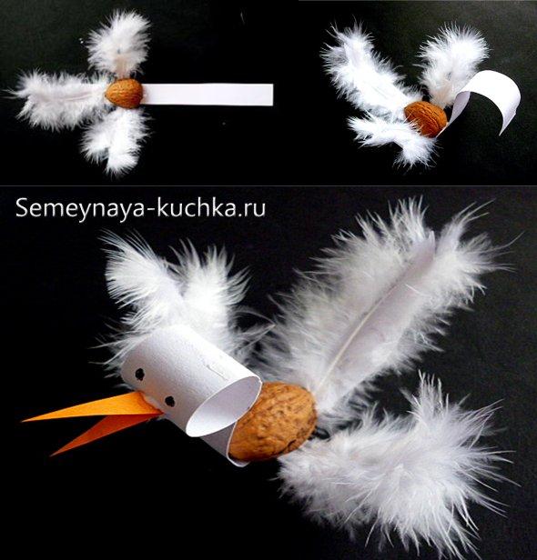 поделка из орехов птица своими руками
