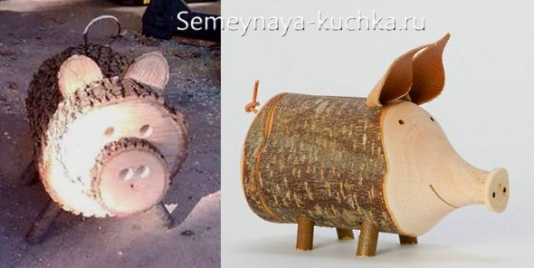 деревянная поделка свинья своими руками