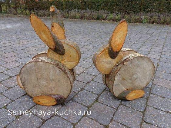 поделки из дерева заяц своими руками