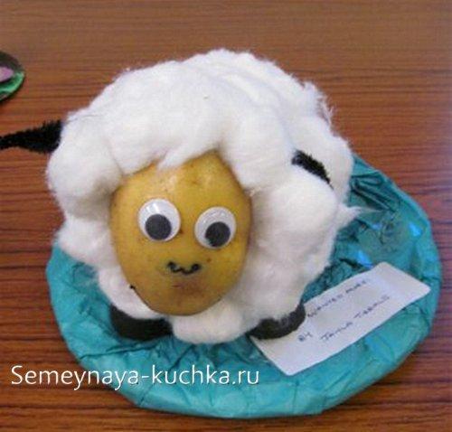 поделка из картошки овечка