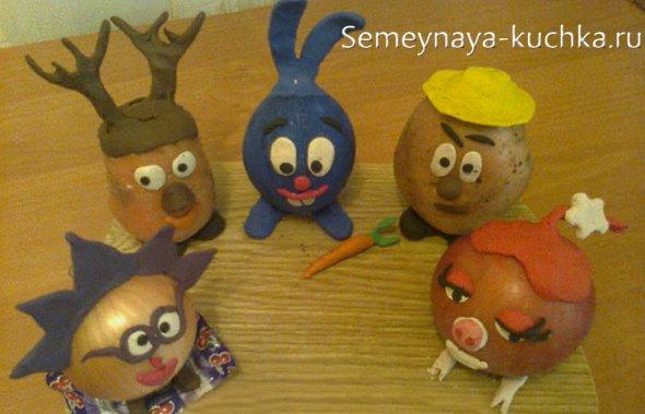 поделки из картошки смешарики