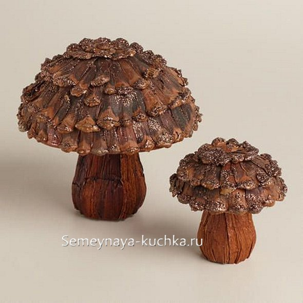 поделка детская грибок из природного материала