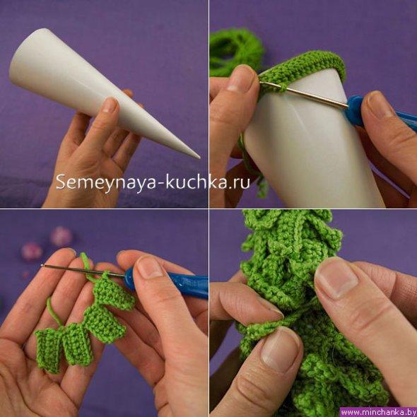 как связать елку крючком