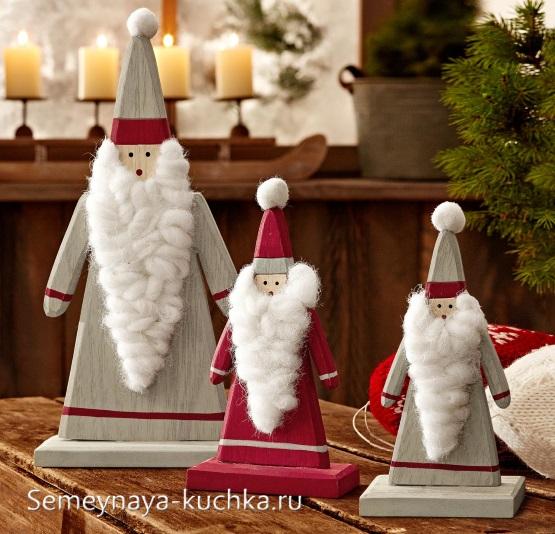 новогодний дед мороз из дерева