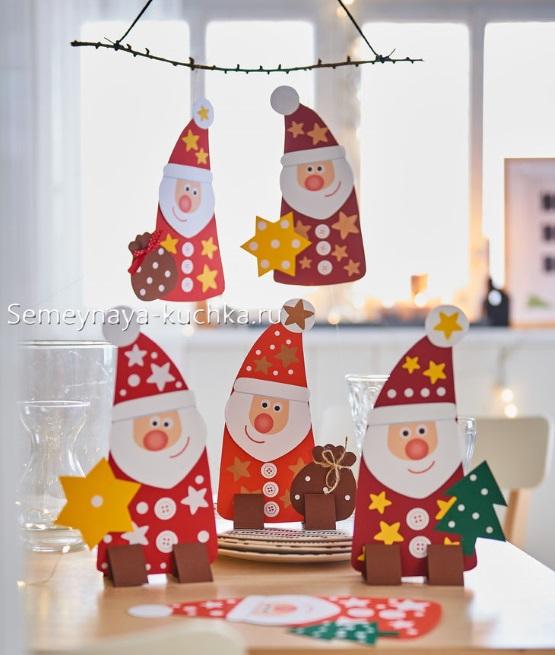новогодний дед мороз поделка детская на подставке