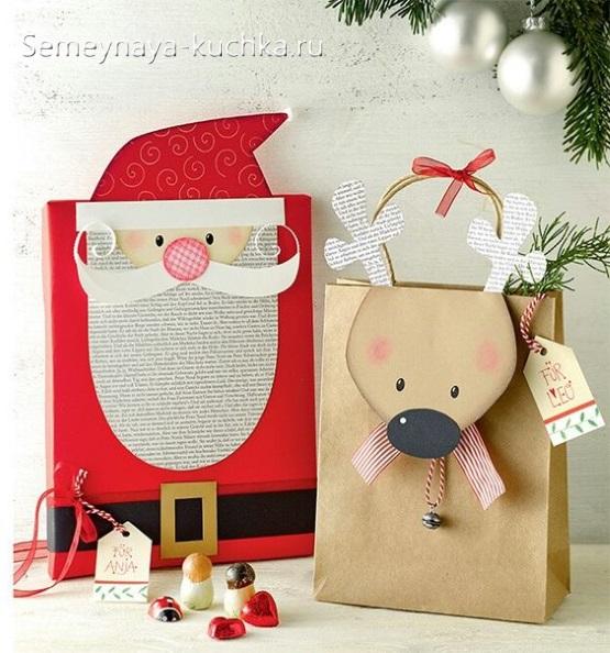 новогодний дед мороз упаковка для подарка