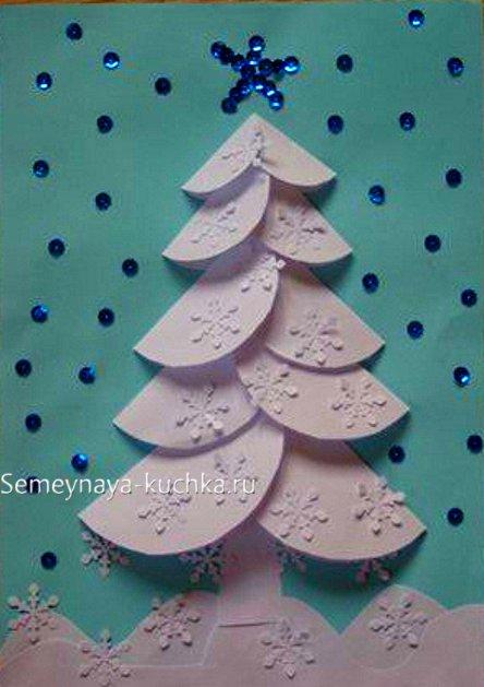 новый год елка из бумаги своими руками