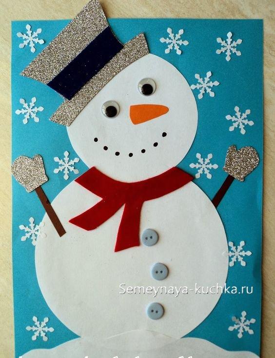 поделка снеговик на Новый год из бумаги своими руками