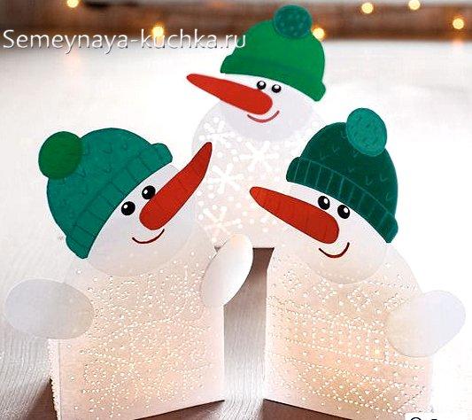 поделка снеговик из бумаги на новый год