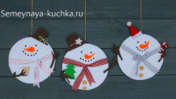 новый год из бумаги снеговик