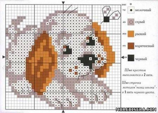 вышивка собаки крестом