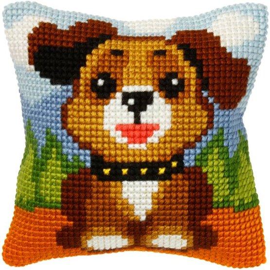 вышивка собачка на подушке