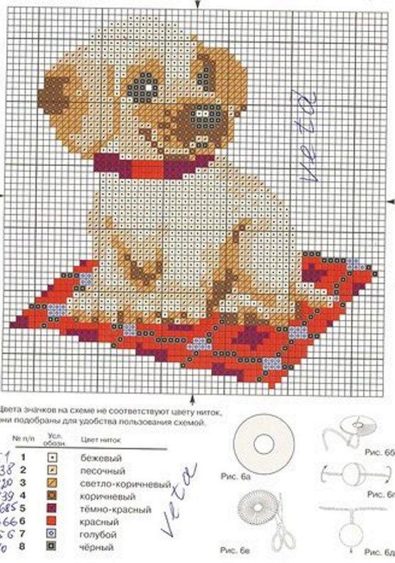 вышивка собака