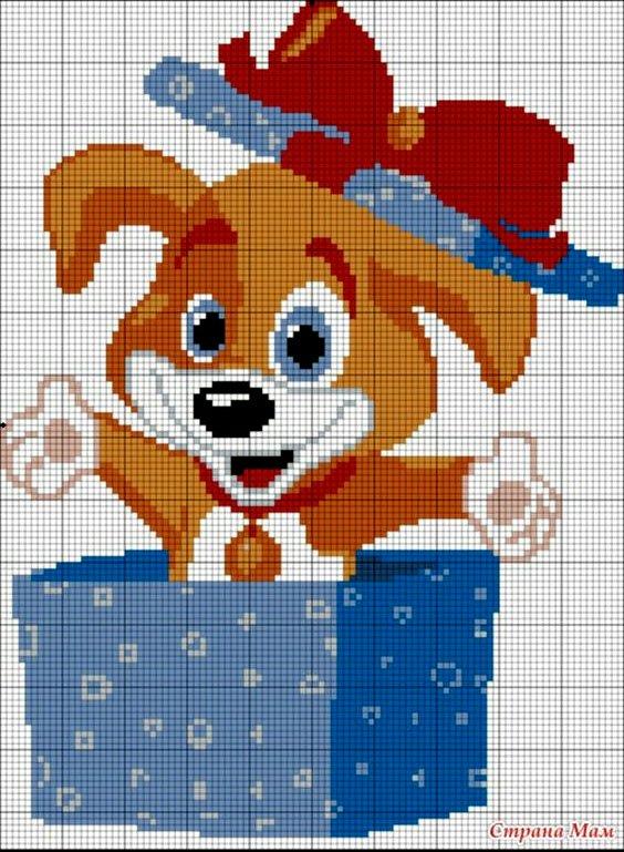 схема собаки вышивка крестом