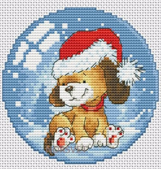 вышивка собака на новый год