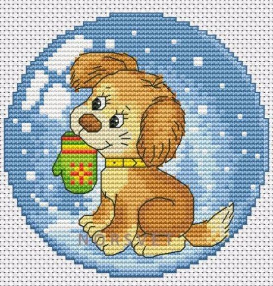 вышивка собака новогодняя