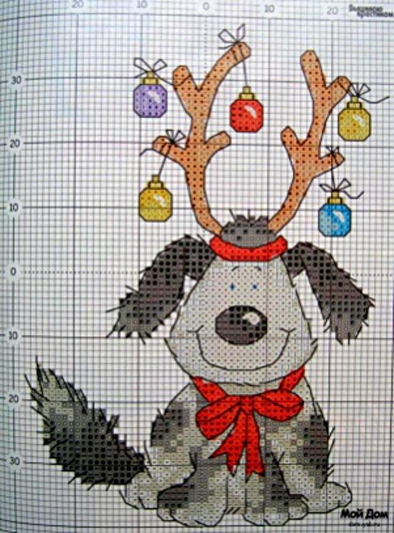 вышивка собаки новогодняя