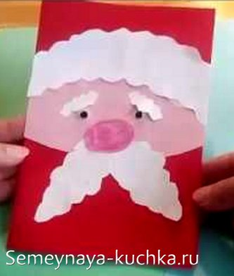 открытка поделка дед мороз из картона для детского сада