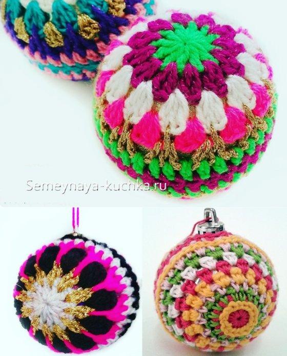 новогодние шары крючком цветные