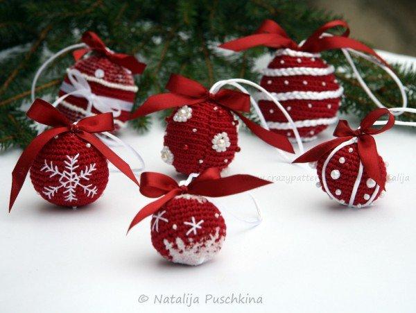 как связать новогодний шар на елку крючком