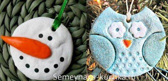 поделка снеговик из теста