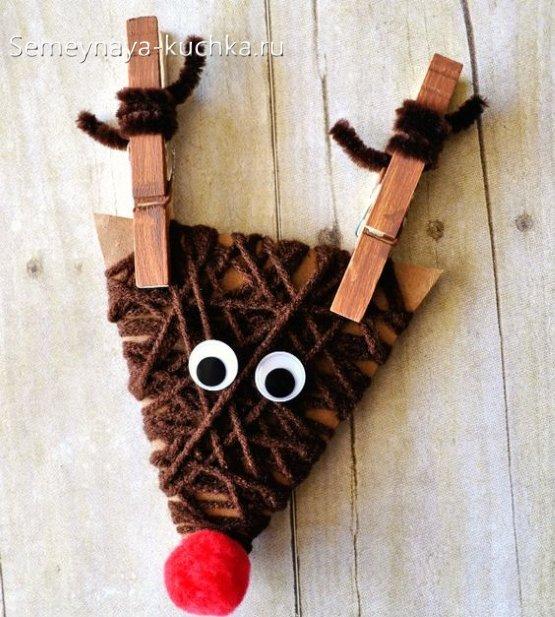 поделка олень для детей на новый год
