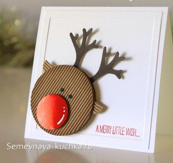 новогодний олень на открытке