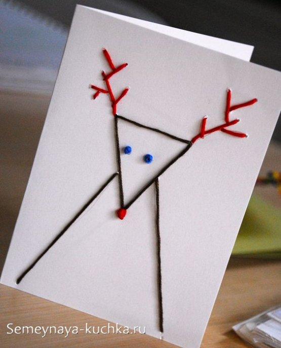 открытка с оленем поделка детская