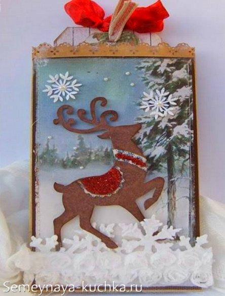 поделка открытка олень