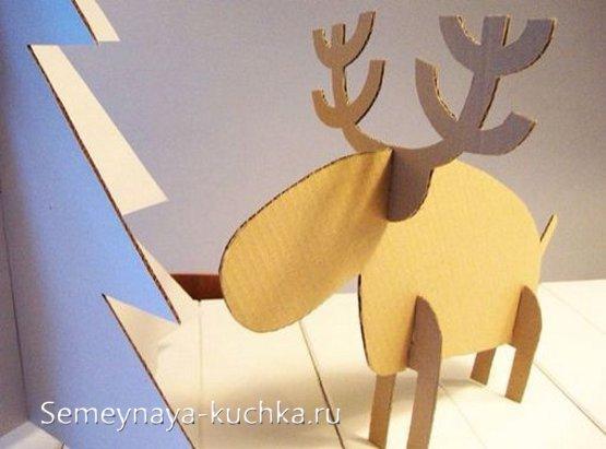 олень из картона объемная поделка на новый год