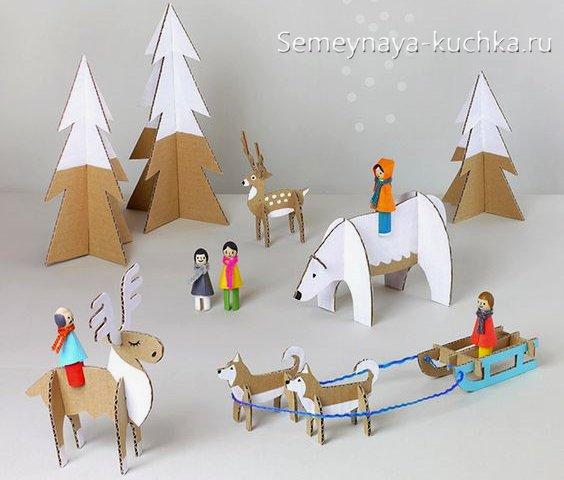 поделка новогодняя с оленем из картона