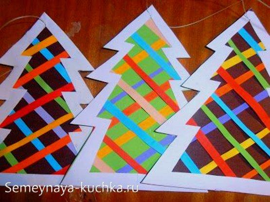 поделка елка из бумаги на новый год