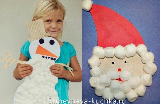 снеговик поделка для детей 2 лет