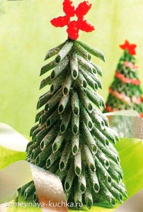 поделка из макарон елочка на новый год