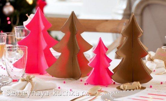 новогодняя сервировка с елками из бумаги