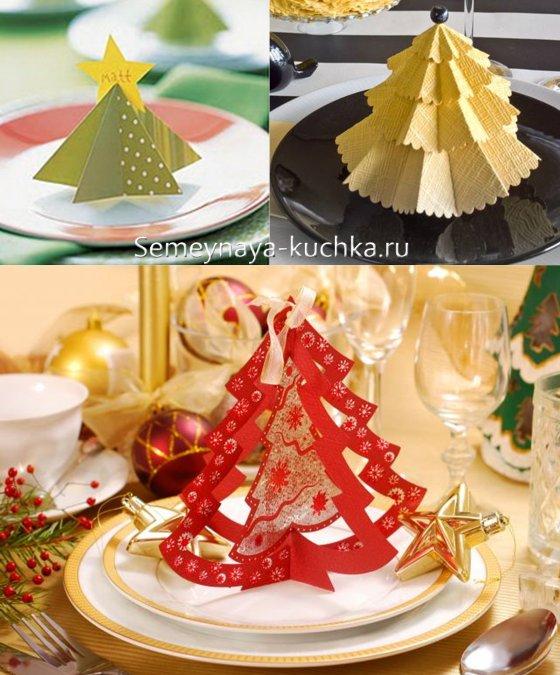 как украсить новогодний стол елки из бумаги