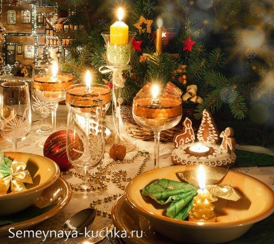 как украсить стол новогодний