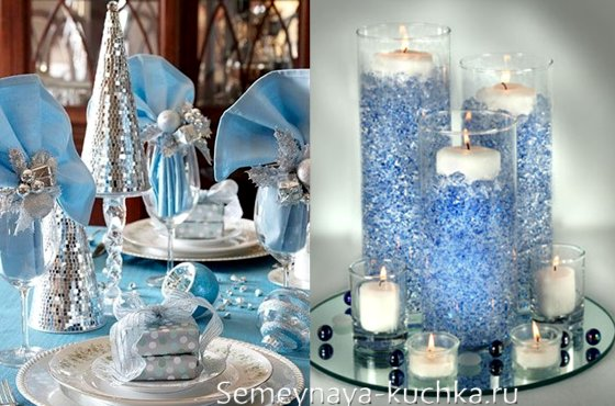 стол на новый год в синем голубом