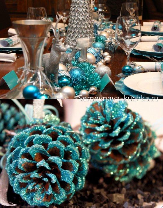 как украсить стол на новый год голубым цветом