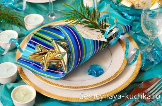 сервировка новогодняя в тарелку