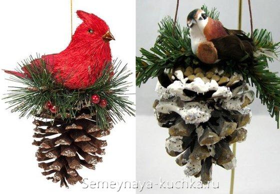 поделки из шишек на елку новогоднюю